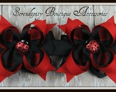 Black and Red with Glitter Lady Bugs Mini Boutique Bows Set of Two