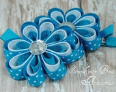 Turquoise with White Polka Dots and White Mini Ribbon Flowers With A Jewel Center Set of Two - Great For Pig Tails