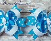 Turquoise with White Polka Dots Mini Boutique Bows Set of Two
