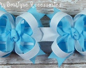 Light Blue and White Mini Boutique Bows Set of Two M2m Cinderella Colors