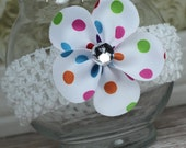 Bright Polka Dots Petal Flower Girls Hair Bow Great for Spring and Easter