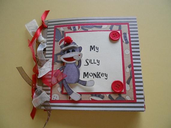 Monkey premade scrapbook album paper bag album