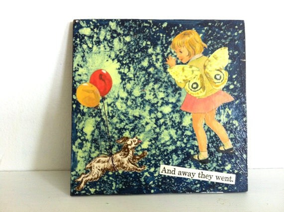 Away They Went - Altered Vintage Art - Small Collage Painting - retro fairy girl butterfly wings balloons and dog