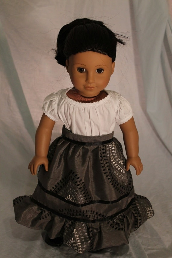 Embroidered grey skirt for 18in american girl doll ( Josefina)