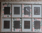 Salvaged, Distressed Old Window with 5 x 7 Picture Frames Picture Frame with Peach and Brown and White Fabric
