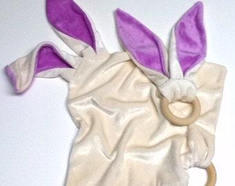 älskar baby OBV Natural & Lavender Bunny Teether and Lovie Gift Set
