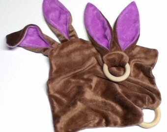 älskar baby OBV Brown & Lavender Bunny Teether and Lovie Gift Set
