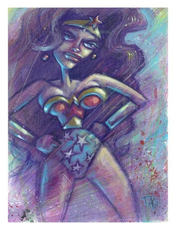 Original ooak Angry Wonder Woman painting by Tom Taggart