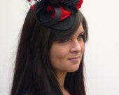 Burlesque black and red mini hat on aliceband, Dutch Design