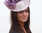 Couture lavender / purple fashinator hat  on aliceband Kate Middleton style