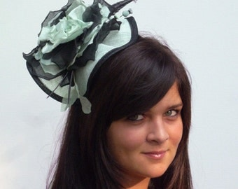 Dutch design completely hand dyed and handmade , soft mintgreen/black headpiece on black aliceband