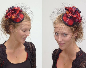 Tartan minihat with included but optional birdcage veil on comb