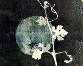 detail ooak Monotypes: pair of Botanical Silhouettes on Vintage Dictionary Sheets