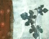 Botanical Study, ooak gelatin monoprint