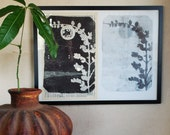 Botanical Silhouette Monotypes on Vintage Dictionary Sheets