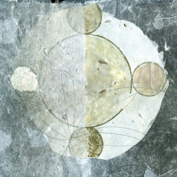 Night Voyage Guided by the Moon, ooak print on handmade paper