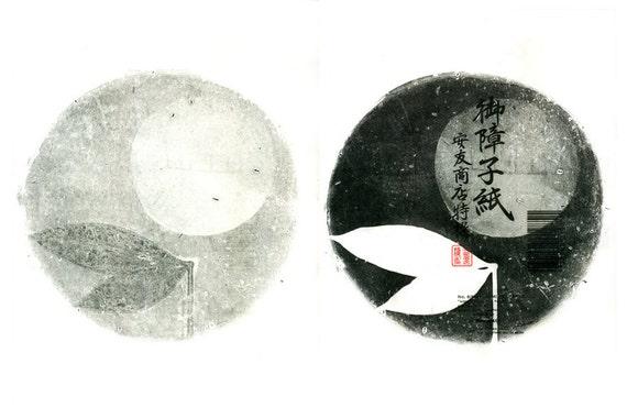 Double Moon, gelatin monoprints