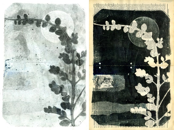 Botanical Silhouettes on Vintage Dictionary Sheets and Rice paper