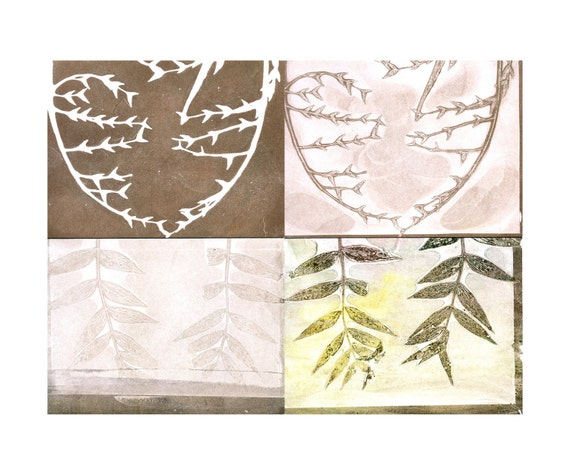 blank note card set of 4, original botanical monoprint