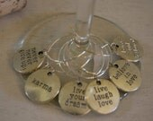 Wine CHarms - SENTIMENTS Silver Tone Assortment Set of Six