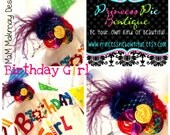 Rainbow Birthday Girl Rosette Headband