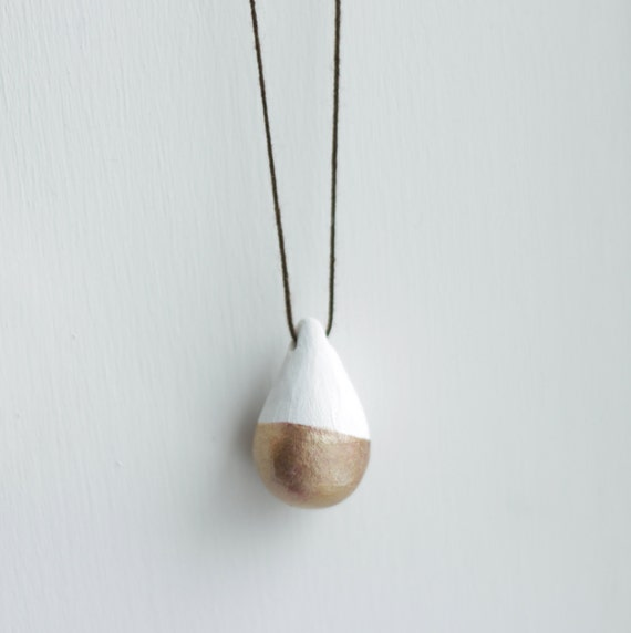 Gold-Dipped Teardrop Pendant Necklace