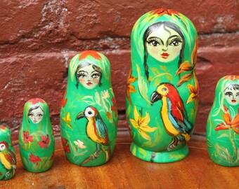 Nesting Doll Tropical flower spirit matryoshka stacking  dolls set of 5