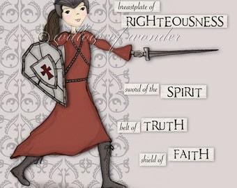 Warrior Girl - Full Armor of God scripture print - Children's room art - Girl's room - nursery decor
