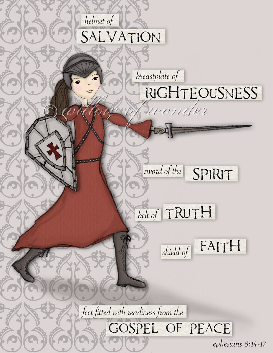 Warrior Girl Full Armor of God scripture print