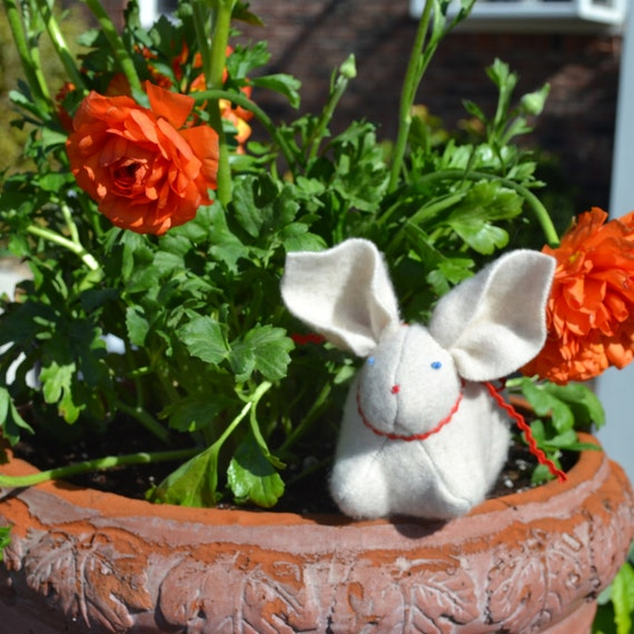 Pure Cashmere, Eco Friendly, Waldorf Inspired Bunny Rabbit in White with Red Rick Rack