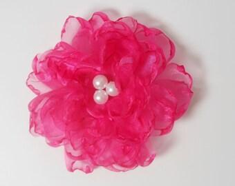 Pink Flambe Organza Pin with Pearls
