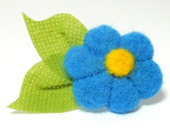 Summer Blossom Needle Felted Pin in Parakeet Blue with Leaves