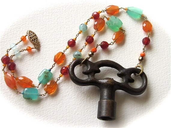 Old Winder Gemstone Wire Wrapped Key Necklace by RiddleWtihin