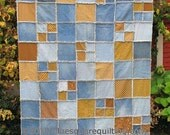 Denim and brown raw edge lap quilt or throw