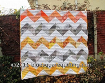 Zig Zag Quilt in Grey, Orange and Yellow