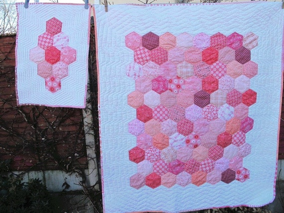 Pink Hexagon Baby Quilt and matching Doll Quilt