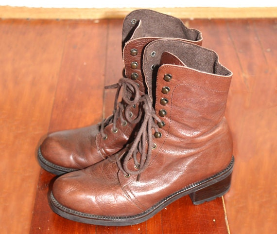 Brown Leather Lace Up Boots 37