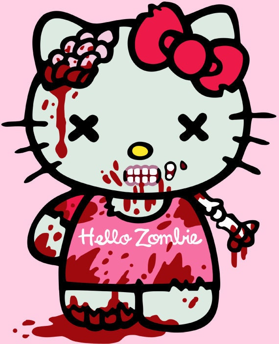 Hello Kitty Zombie Coloring Pages : Zombie hello kitty free colouring pages