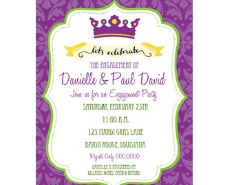 DIY, Mardi Gras Party or Birthday Invitation