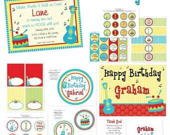 Music Birthday, Guitar Birthday, Music Birthday Party, Music Invitation, Music Printables, Music Decorations, Lauren Haddox Designs