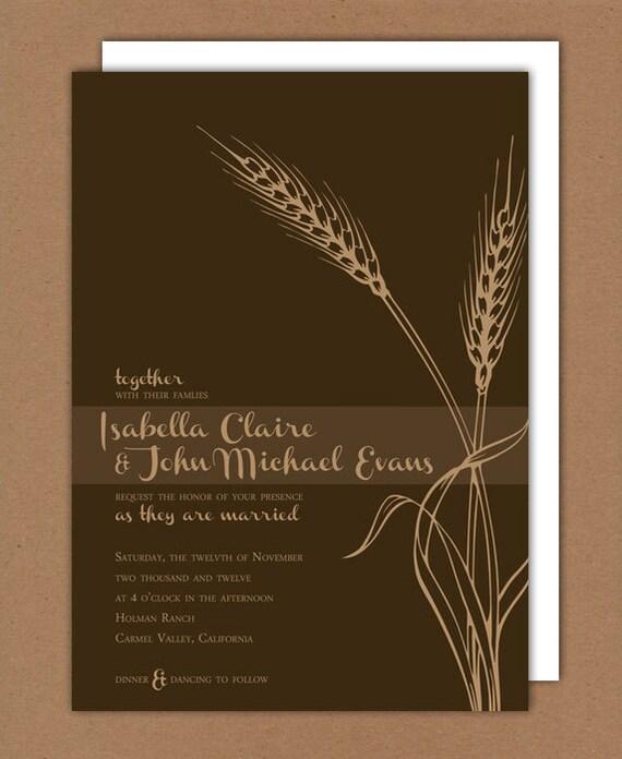 Printable/DIY - Autumn Wheat Wedding Invitation & RSVP Set