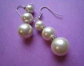 Triple Pearl Drop Dangle Earrings