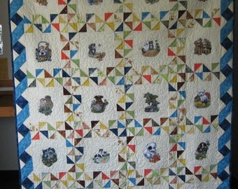 Puppies and Kittens embroidered quilt  free shipping to US