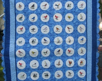 US State Bird Embroidered Quilt
