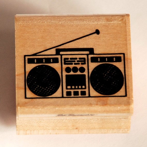 Vintage Retro Boombox Wood-Mounted Rubber Stamp ... Blaster
