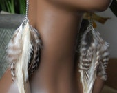 Grizzly Feather Earrings with Silver Chains