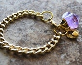 Gold Chain Bracelet with Amethyst Point and Winged Heart