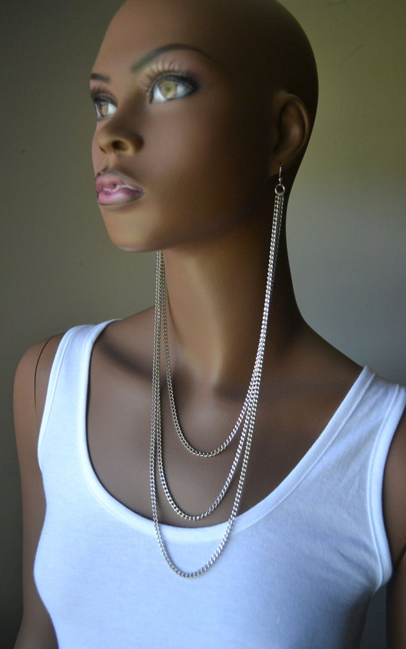 Silver Layered Earlace Earring Necklace