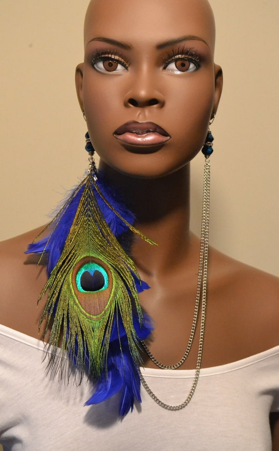 Blue Peacock Feather Earlace