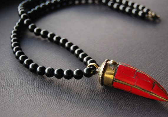 Mens Necklace- Black Onyx with Brass and Red Stone Tusk Pendant